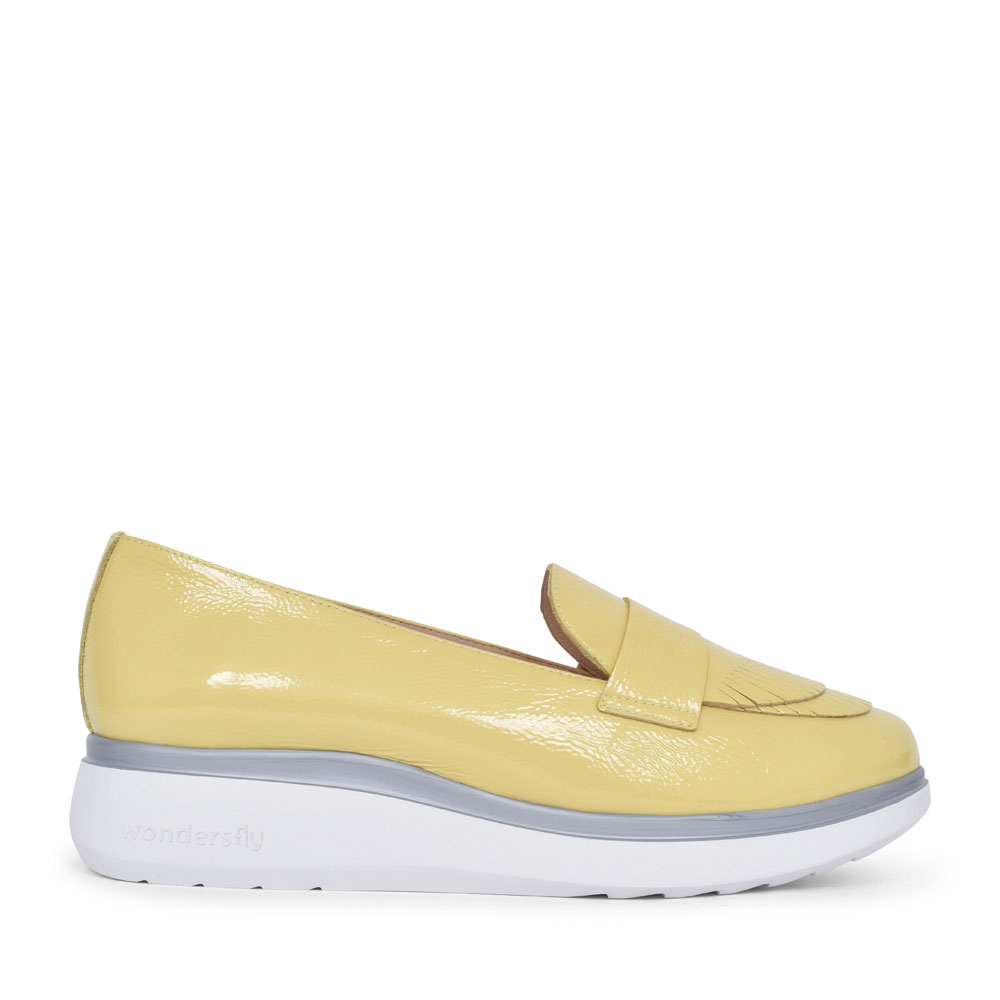 LADIES A-9703 FRINGE FRONT SLIP ON WEDGE SHOE in YELLOW