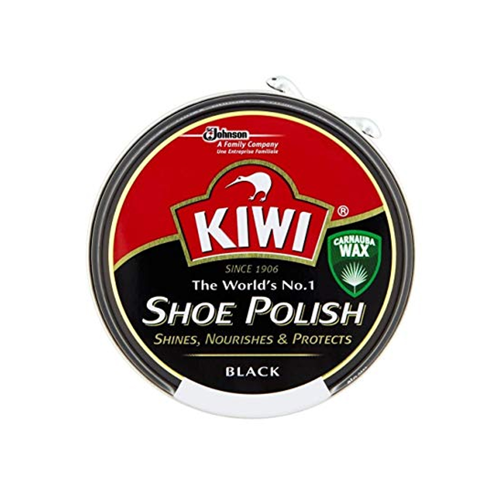 KIWI TRADITIONAL PASTE SHOE POLISH TIN in BLACK