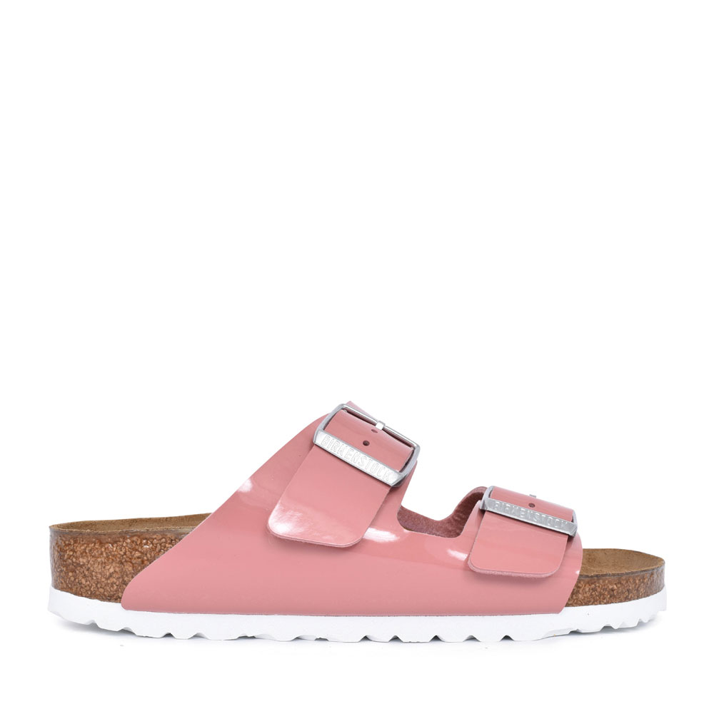 LADIES 1016071 ARIZONA PATENT DOUBLE BUCKLE SLIDER SANDAL in ROSE