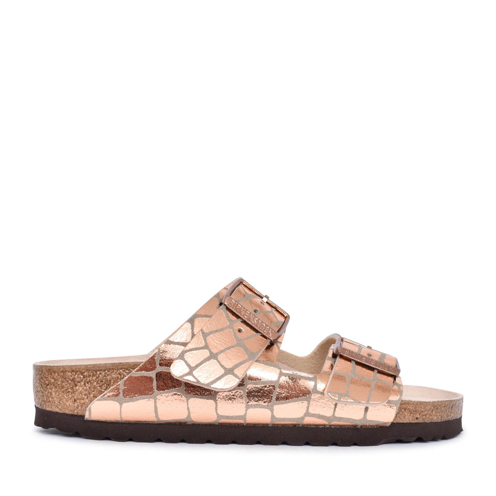 LADIES 1016047 ARIZONA GATOR DOUBLE BUCKLE SLIDER SANDAL in COPPER