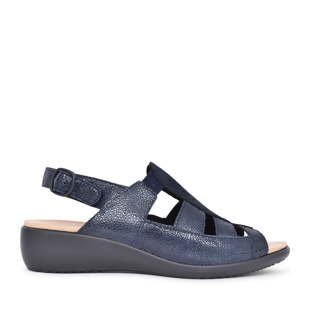 LADIES ROMA EXTRA WIDE FIT PERFORATED BUCKLE SANDAL in NAVY