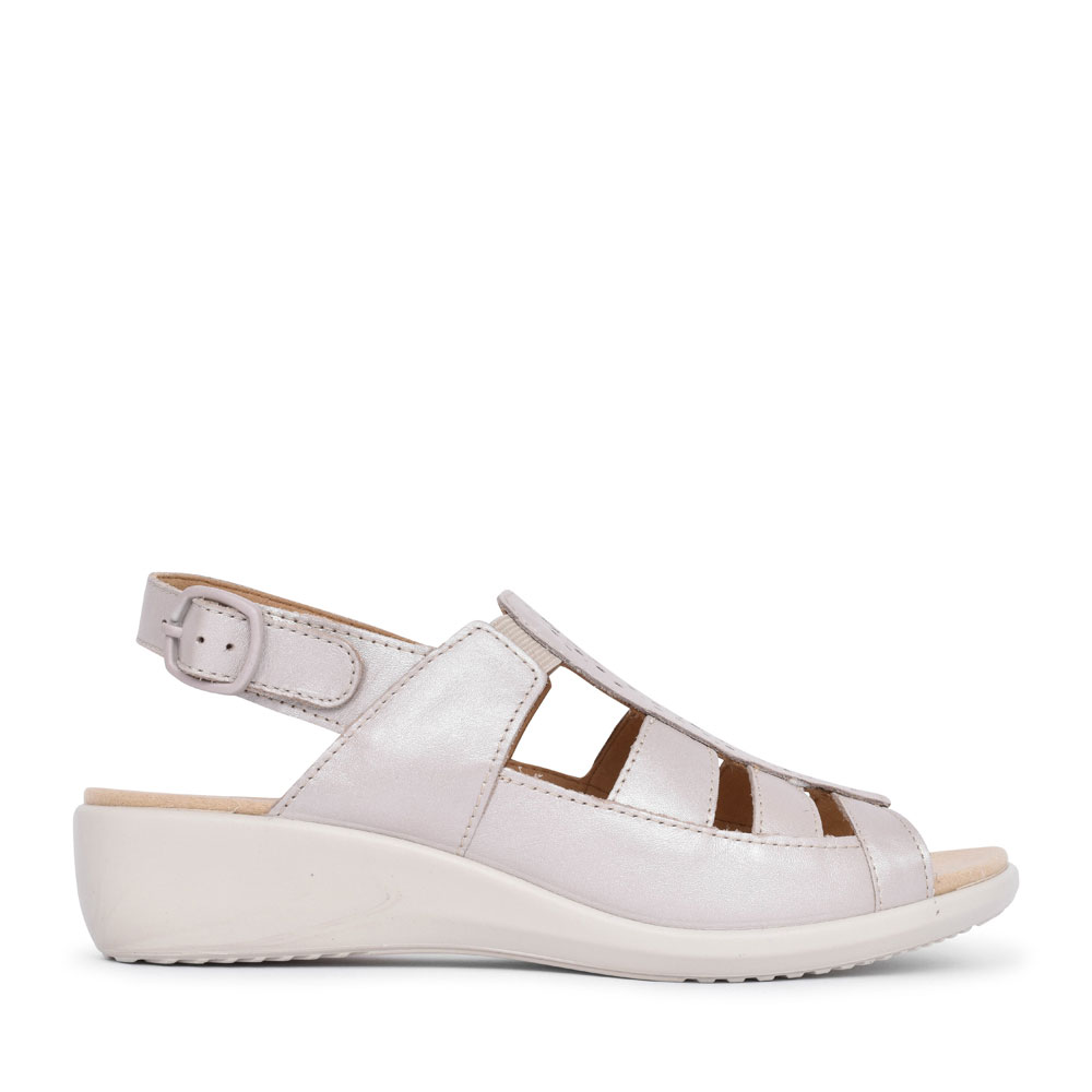 LADIES ROMA EXTRA WIDE FIT PERFORATED BUCKLE SANDAL in BEIGE