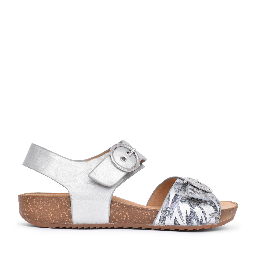 LADIES TOURIST STD. FIT DOUBLE BUCKLE SANDAL in SILVER