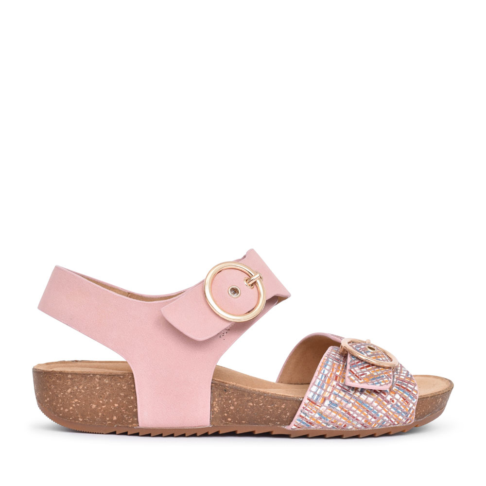 LADIES TOURIST STD. FIT DOUBLE BUCKLE SANDAL in ROSE