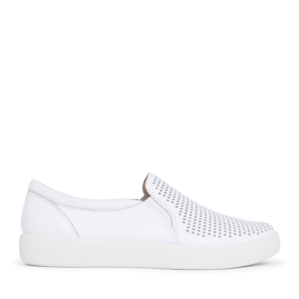 LADIES DAISY STD. FIT PERFORATED SLIP ON SHOE in WHITE