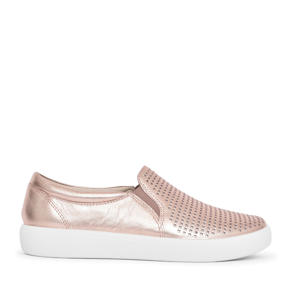LADIES DAISY STD. FIT PERFORATED SLIP ON SHOE in ROSE