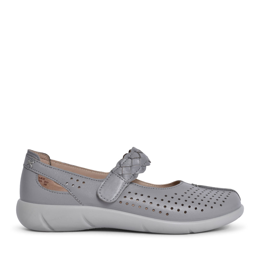 LADIES QUAKE EXTRA WIDE FIT MARY JANE SHOE in GREY