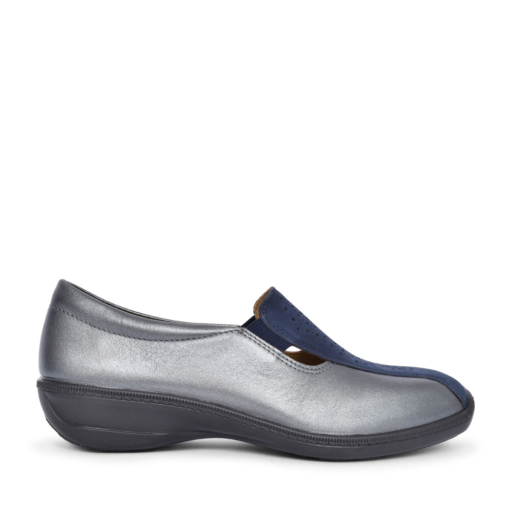 LADIES CALYPSO STD. FIT SLIP ON WEDGE SHOE  in NAVY
