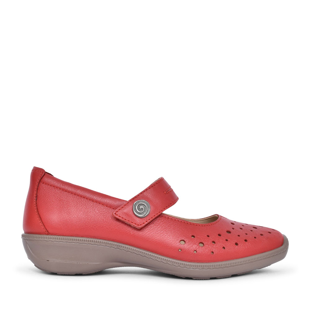 LADIES RUBY STD. FIT PERFORATED MARY JANE SHOE  in RED