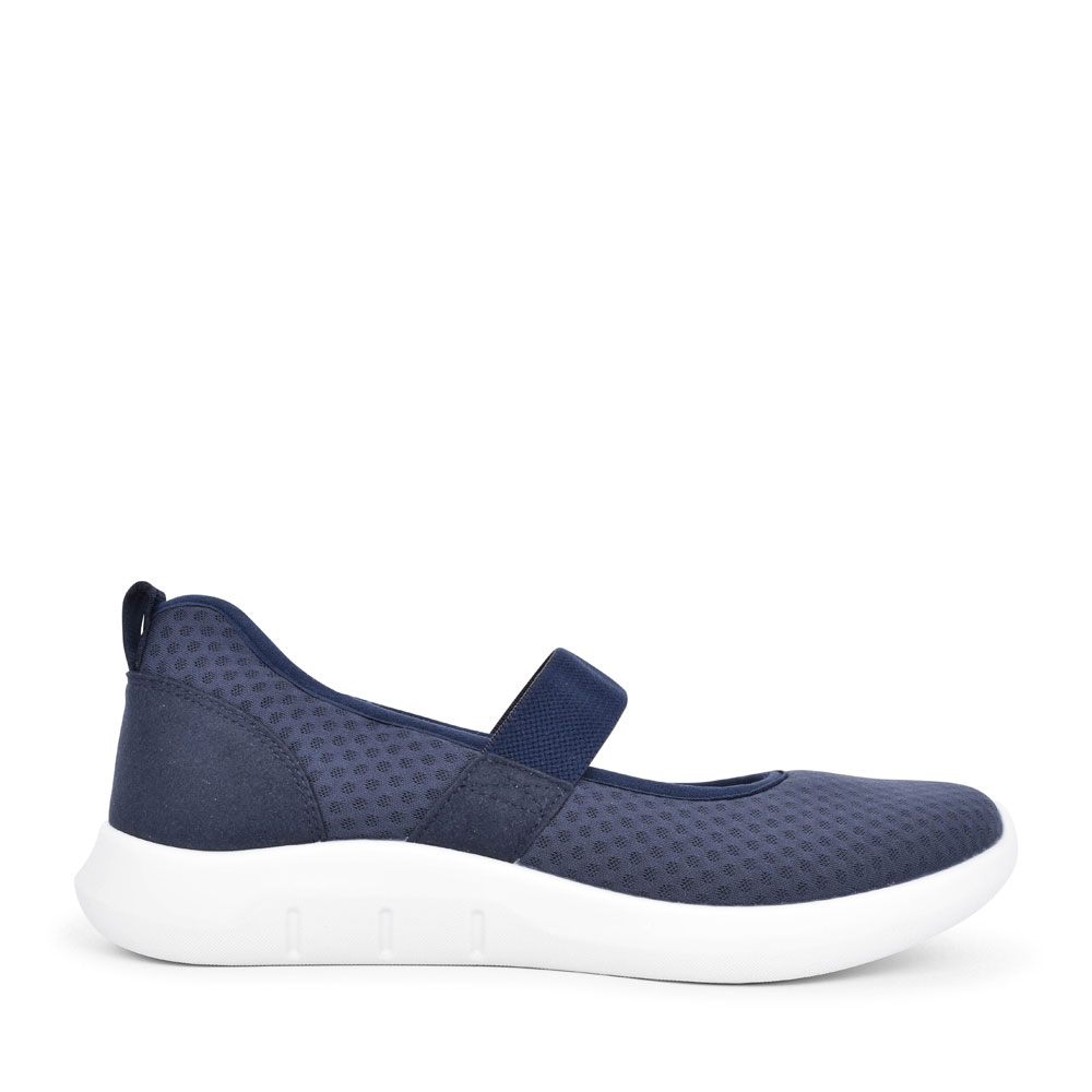 LADIES FLOW STD. FIT ELASTICATED MARY JANE SHOE in NAVY