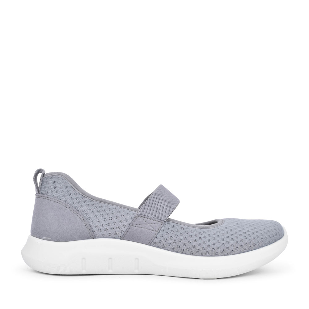 LADIES FLOW STD. FIT ELASTICATED MARY JANE SHOE in GREY