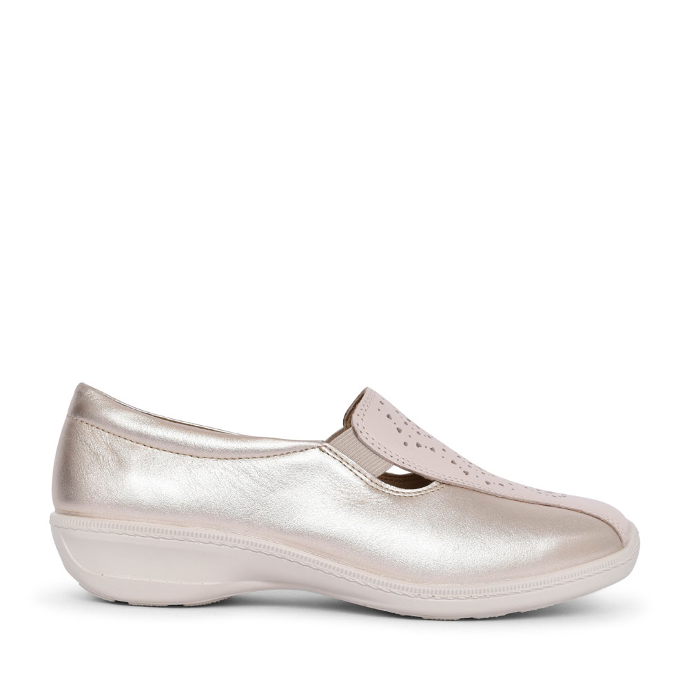 LADIES CALYPSO EXTRA WIDE FIT SLIP ON WEDGE SHOE  in BEIGE