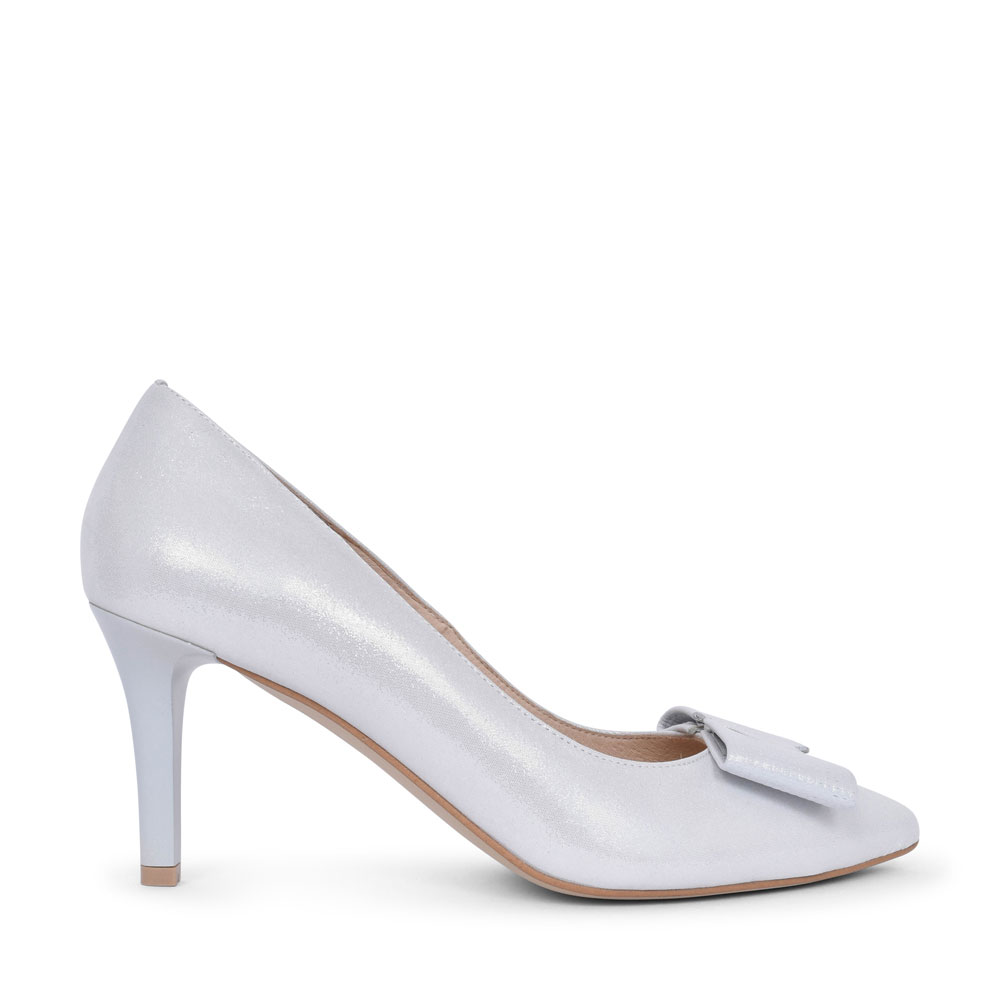 LADIES 7411 HIGH HEEL BOW FRONT COURT SHOE  in WHITE
