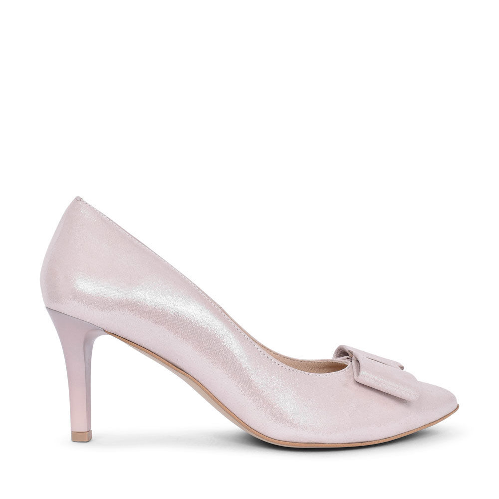 LADIES 7411 HIGH HEEL BOW FRONT COURT SHOE  in ROSE
