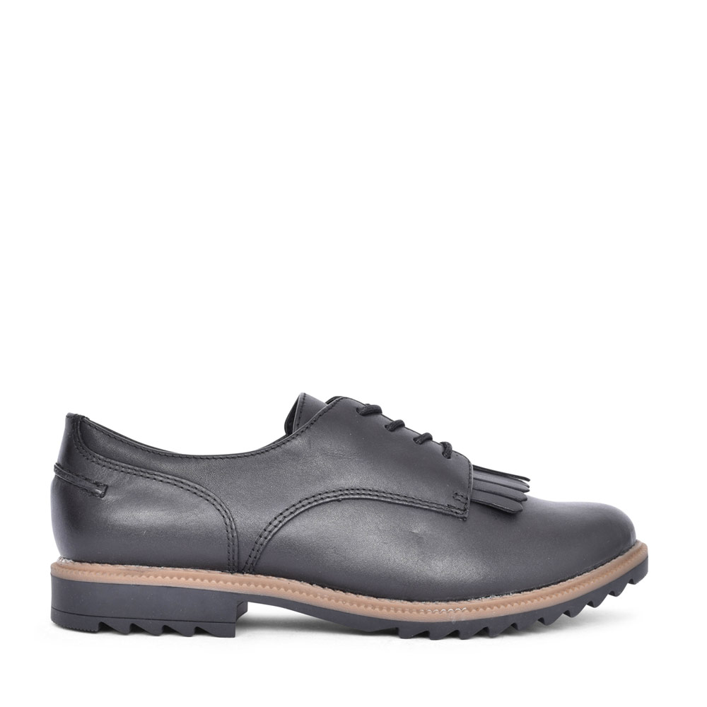 LADIES GRIFFIN MABEL LEATHER D FIT LACED SHOE in BLK LEATHER
