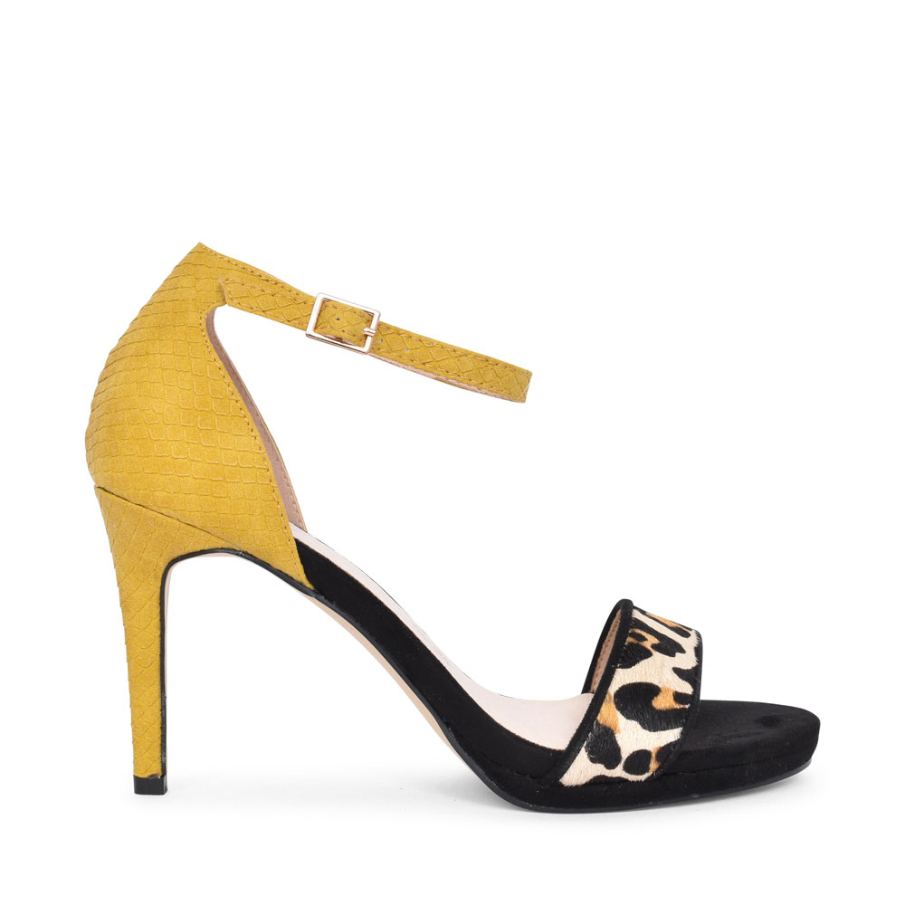LADIES 21383 HIGH HEEL ANKLE STRAP COURT SHOE in YELLOW