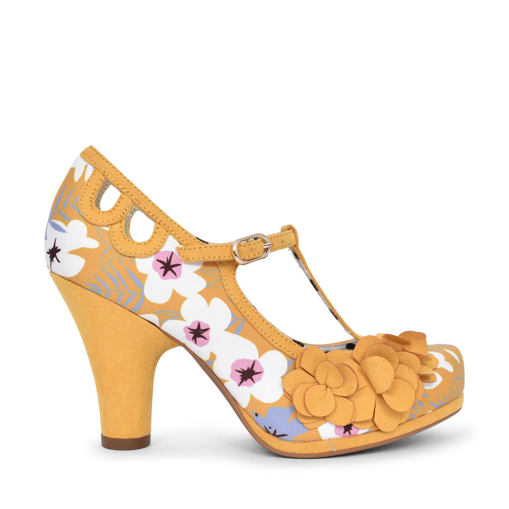 LADIES VALERIE MEDIUM HEEL FLORAL T-BAR COURT SHOE in MUSTARD