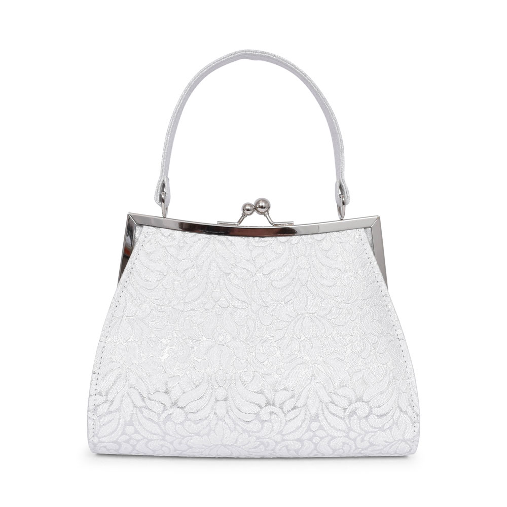 LADIES TOULOUSE KISS LOCK CLOSURE BAG in WHITE