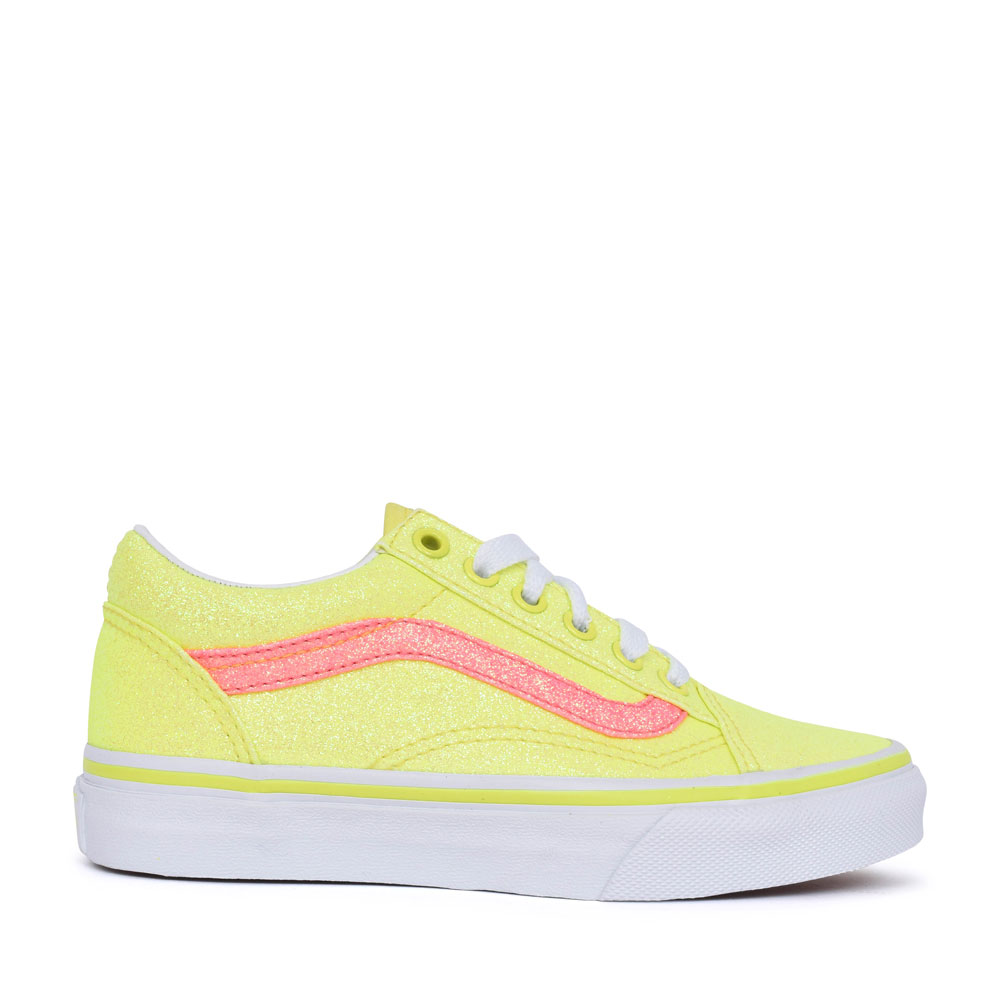 LADIES OLD SKOOL NEON LACED TRAINER in YELLOW