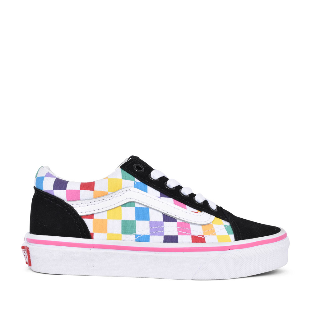 GIRLS OLD SKOOL RAINBOW CHECKERBOARD LACED TRAINER in MULTI-COLOUR