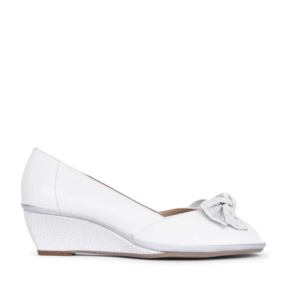 LADIES 1076070 FLORIDA II SLIP ON PEEP TOE WEDGE SHOE in WHITE
