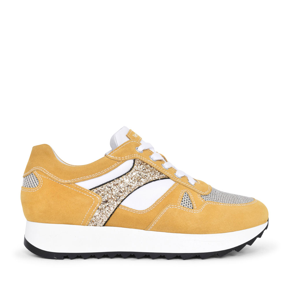 LADIES CASUAL LACED TRAINER in YELLOW