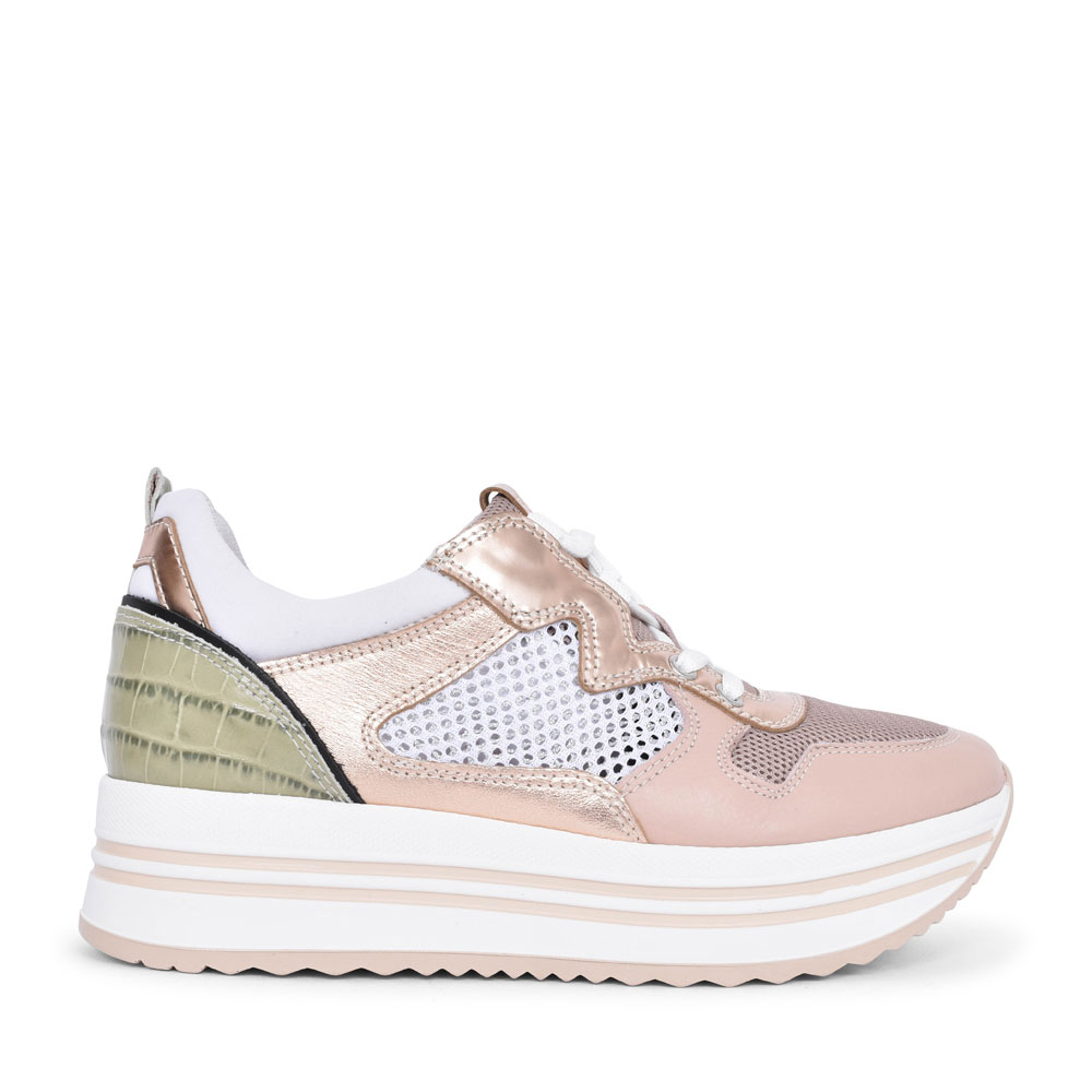 LADIES CASUAL LACED TRAINER in BEIGE