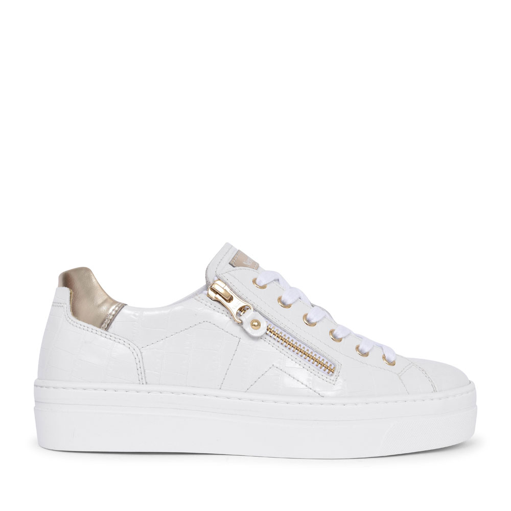 LADIES CASUAL LACED & ZIP TRAINER in WHITE