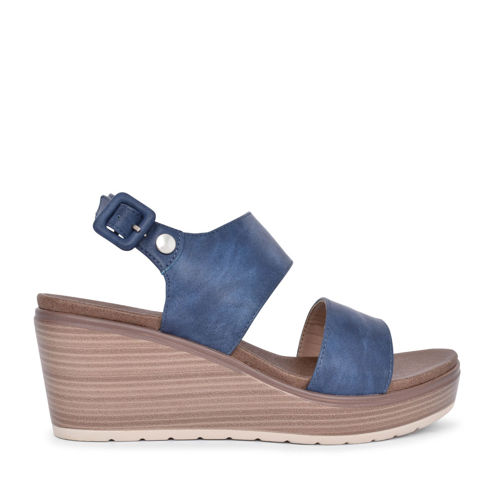 LADIES 49866 STUDDED WEDGE SANDAL in NAVY