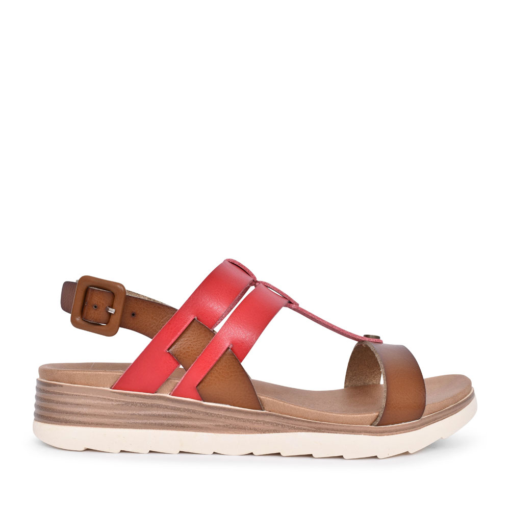 LADIES 49845 CASUAL T-BAR SANDAL in RED