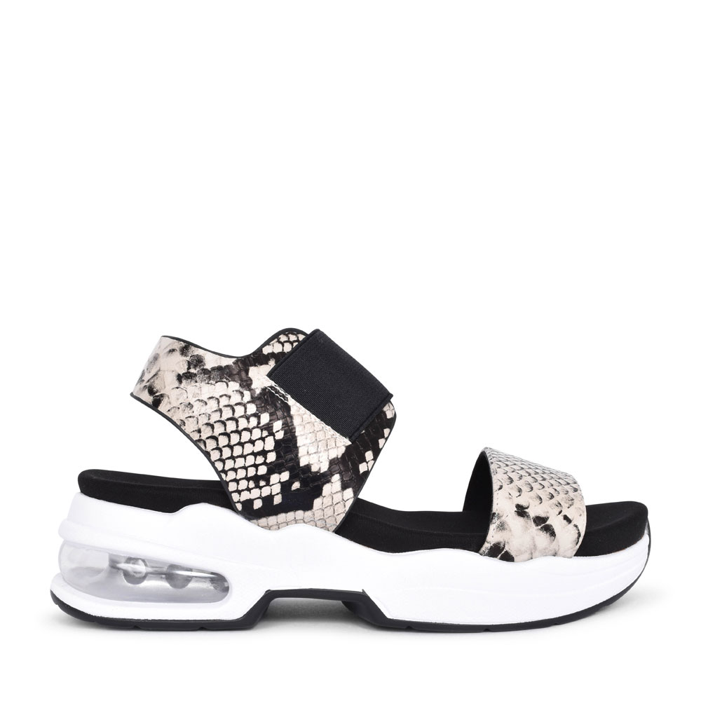 LADIES 49977 ANIMAL PRINT ELASTICATED SANDAL in TAUPE