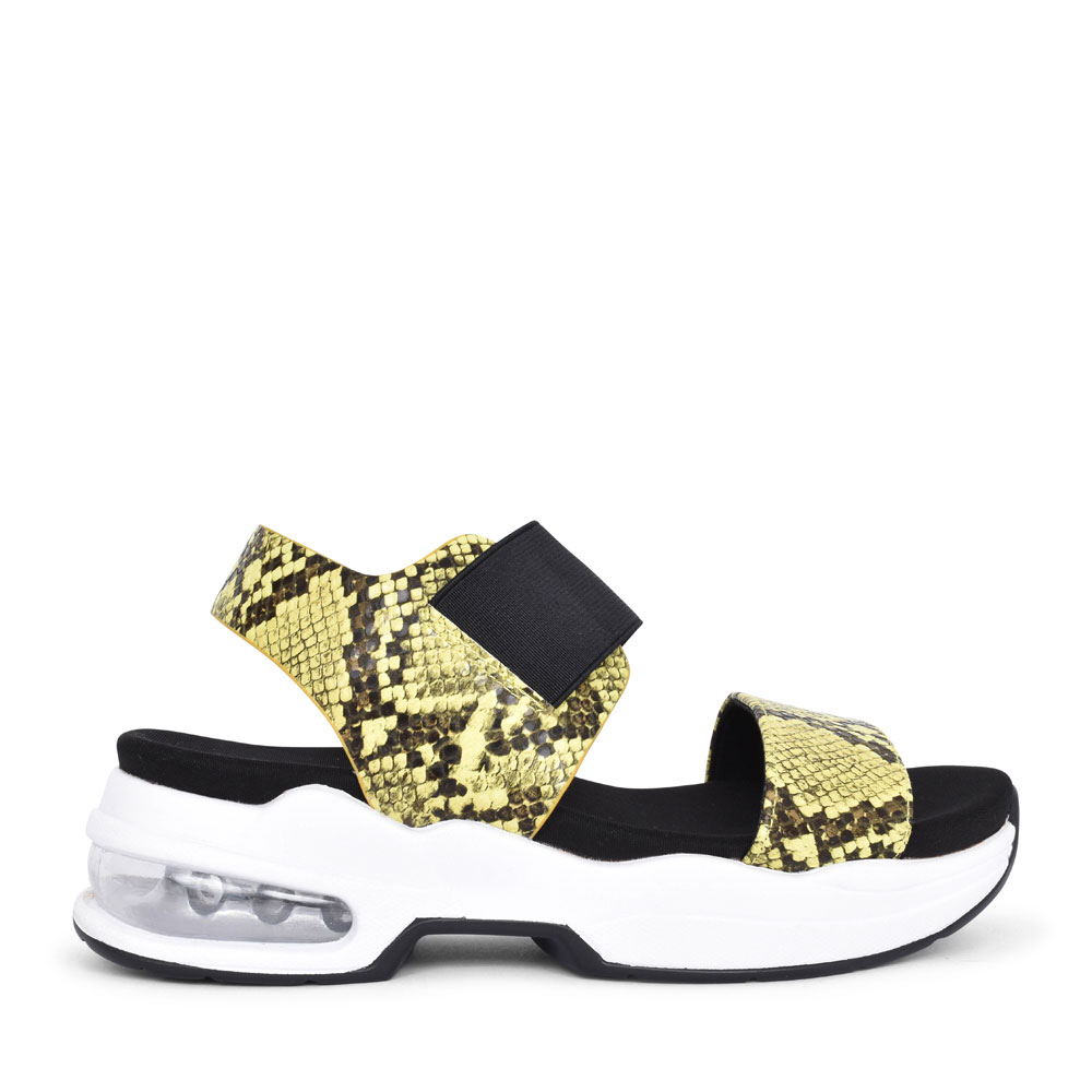LADIES 49977 ANIMAL PRINT ELASTICATED SANDAL in YELLOW
