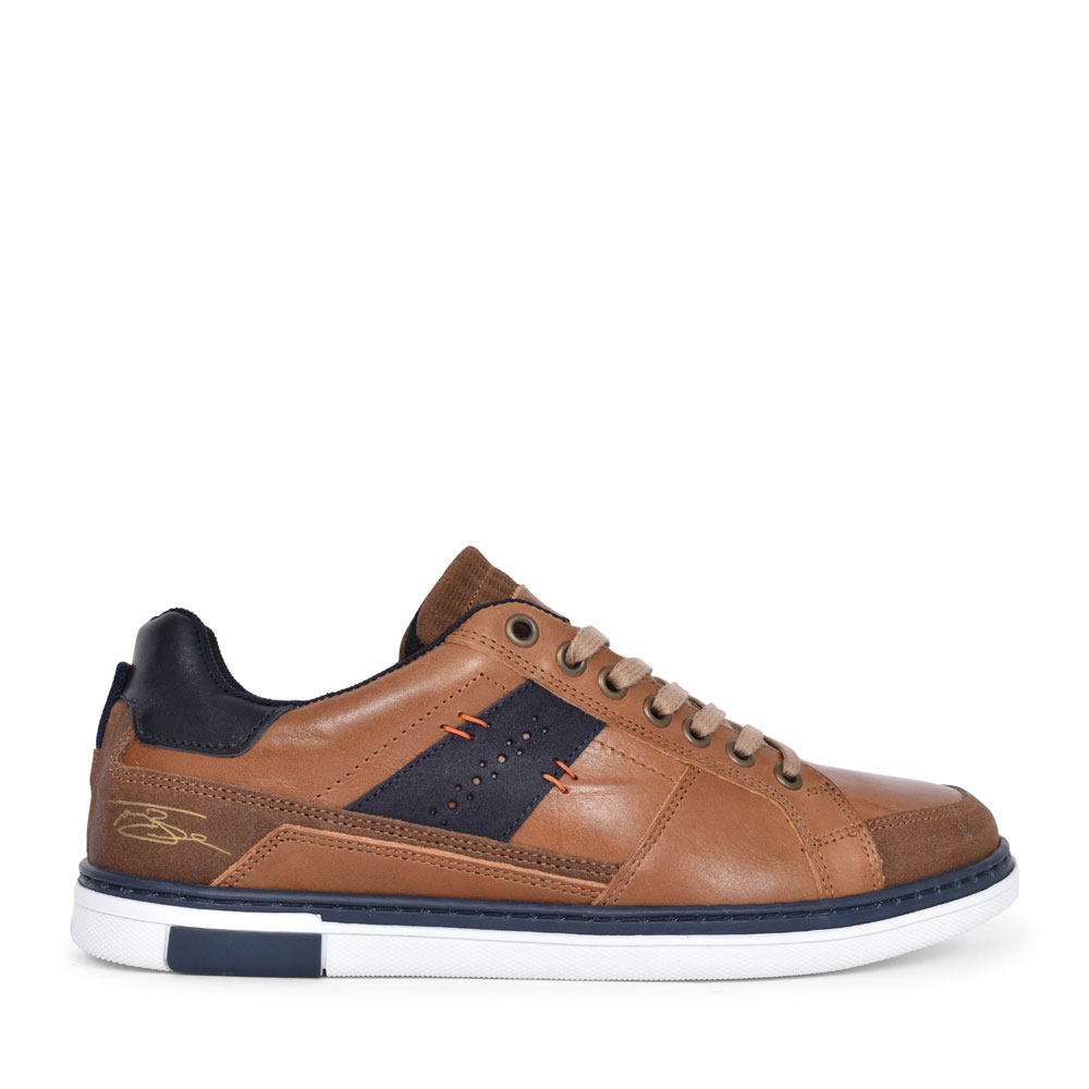 MEN'S PRICE LACED LEATHER TRAINER in TAN