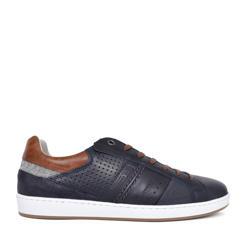 MEN'S LEATHER LACED TRAINER  in NAVY