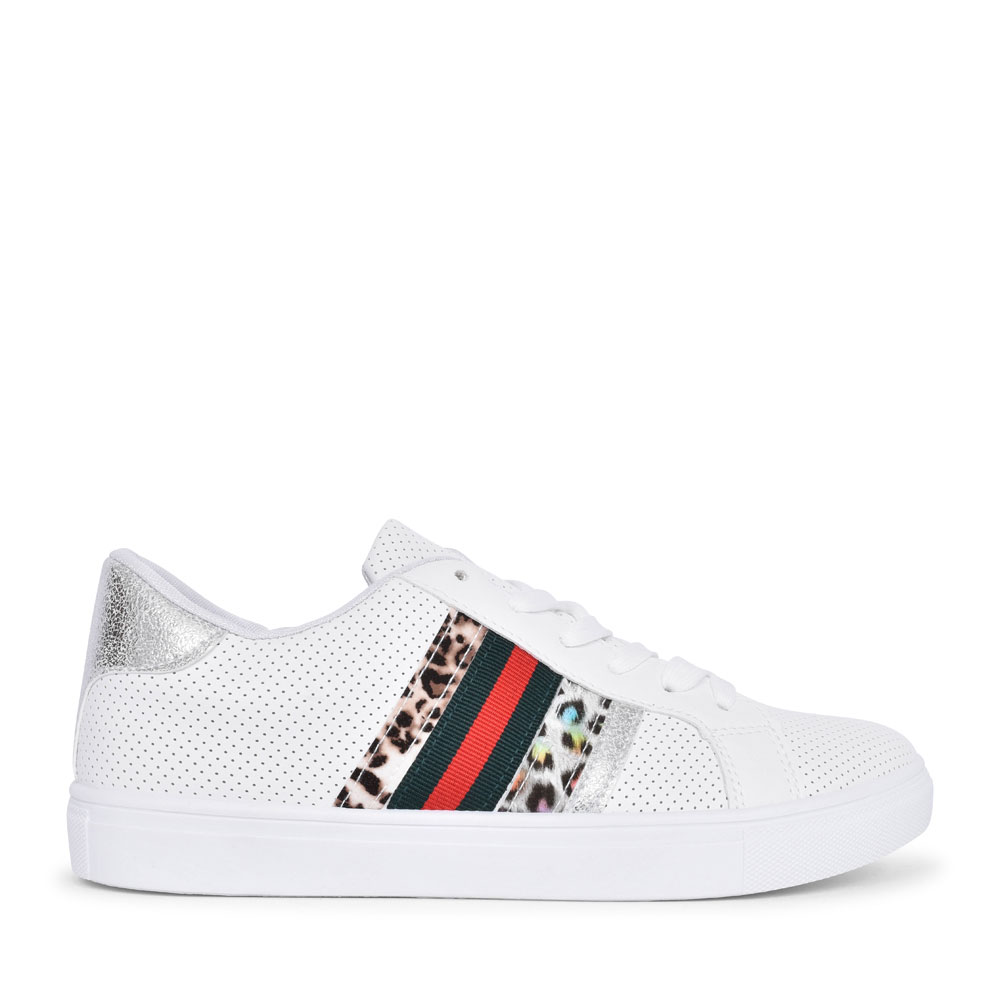 B378870 LACED TRAINER WITH ANIMAL TRIM FOR LADIES in WHITE