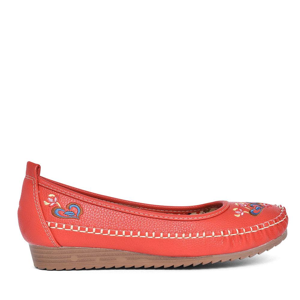 LADIES ALGARVE FLORAL SLIP ON SHOE  in RED