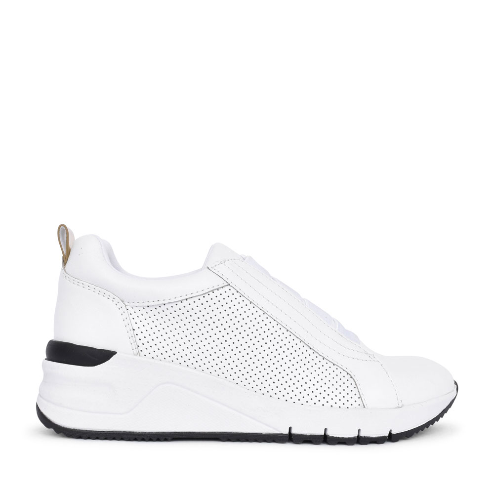 LADIES 1-24715 PERFORATED WEDGE TRAINER in WHITE