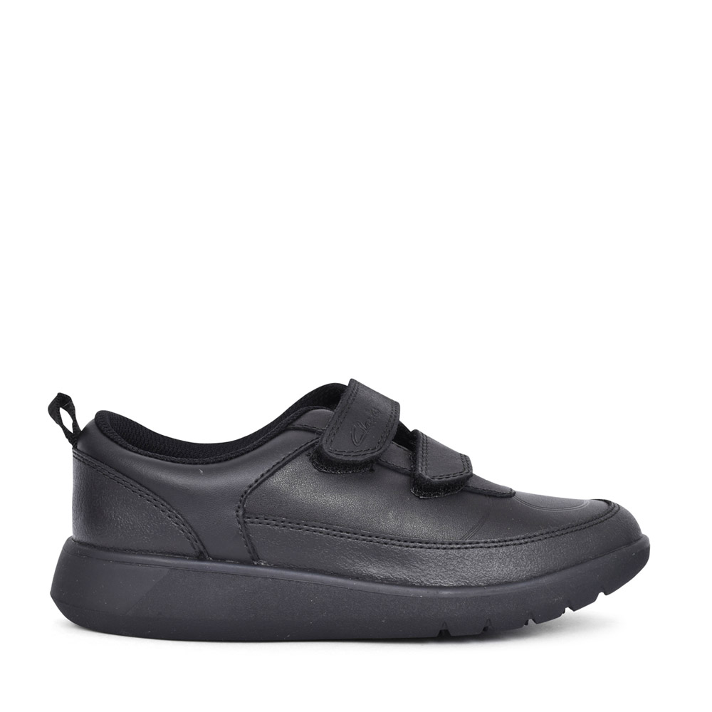 BOYS SCAPE FLARE BLACK LEATHER VELCRO SHOE in KIDS G FIT