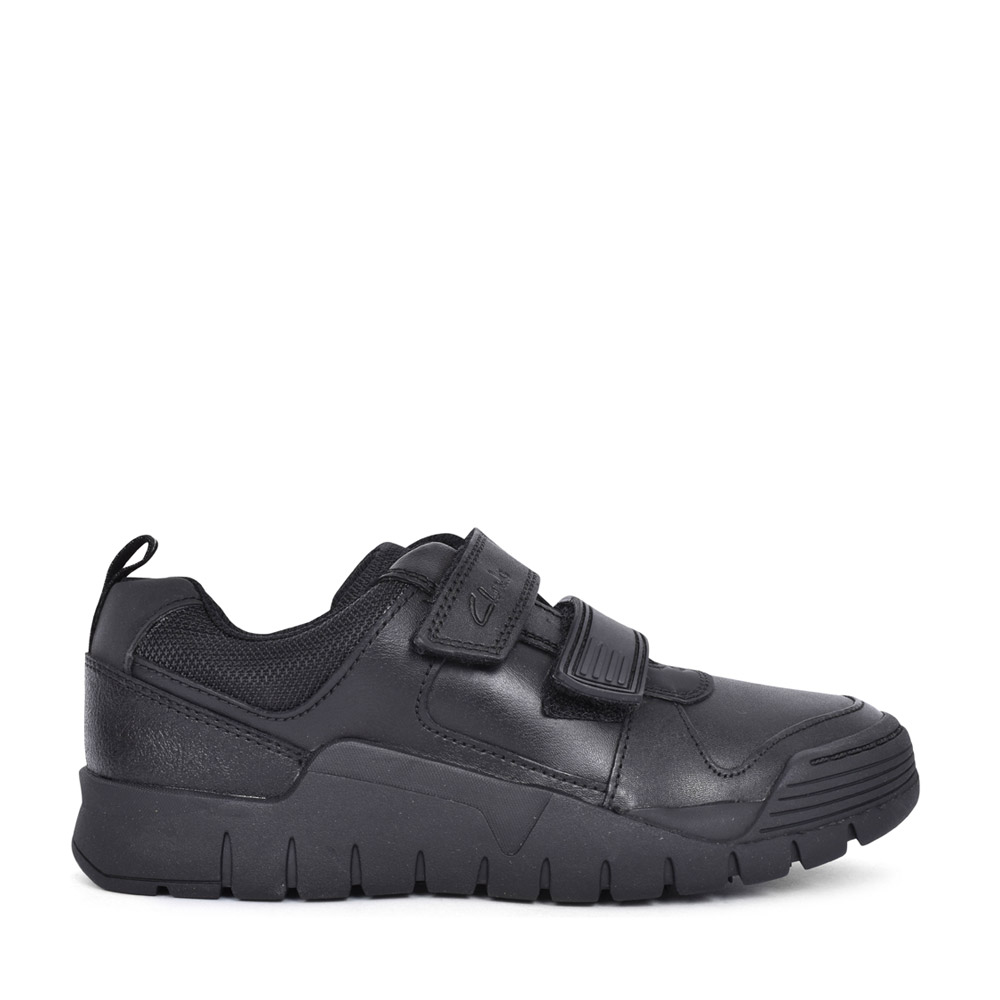 BOYS SCOOTER SPEED BLACK LEATHER VELCRO SHOE in KIDS E FIT