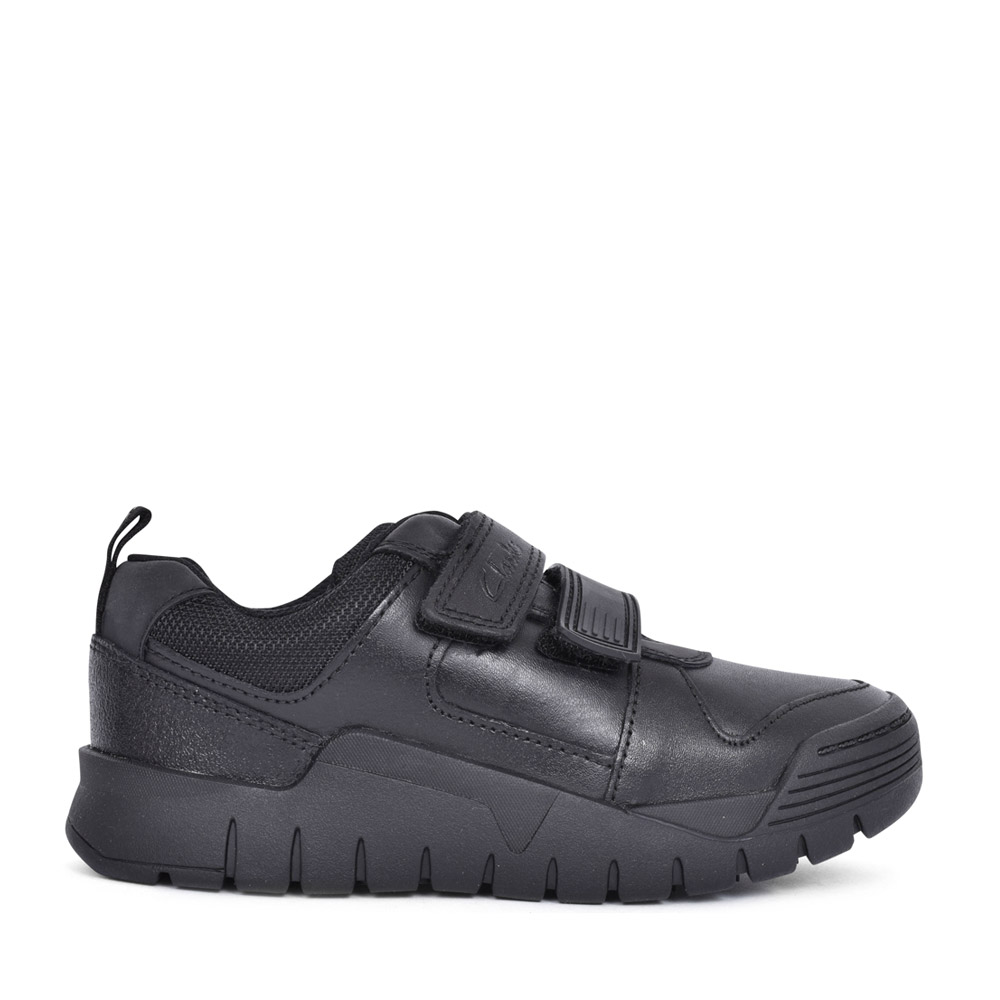 BOYS SCOOTER SPEED BLACK LEATHER VELCRO SHOE in KIDS F FIT