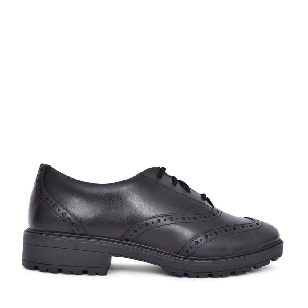 GIRLS LOXHAMBROGUE BLACK LEATHER LACED BROGUE SHOE in KIDS G FIT
