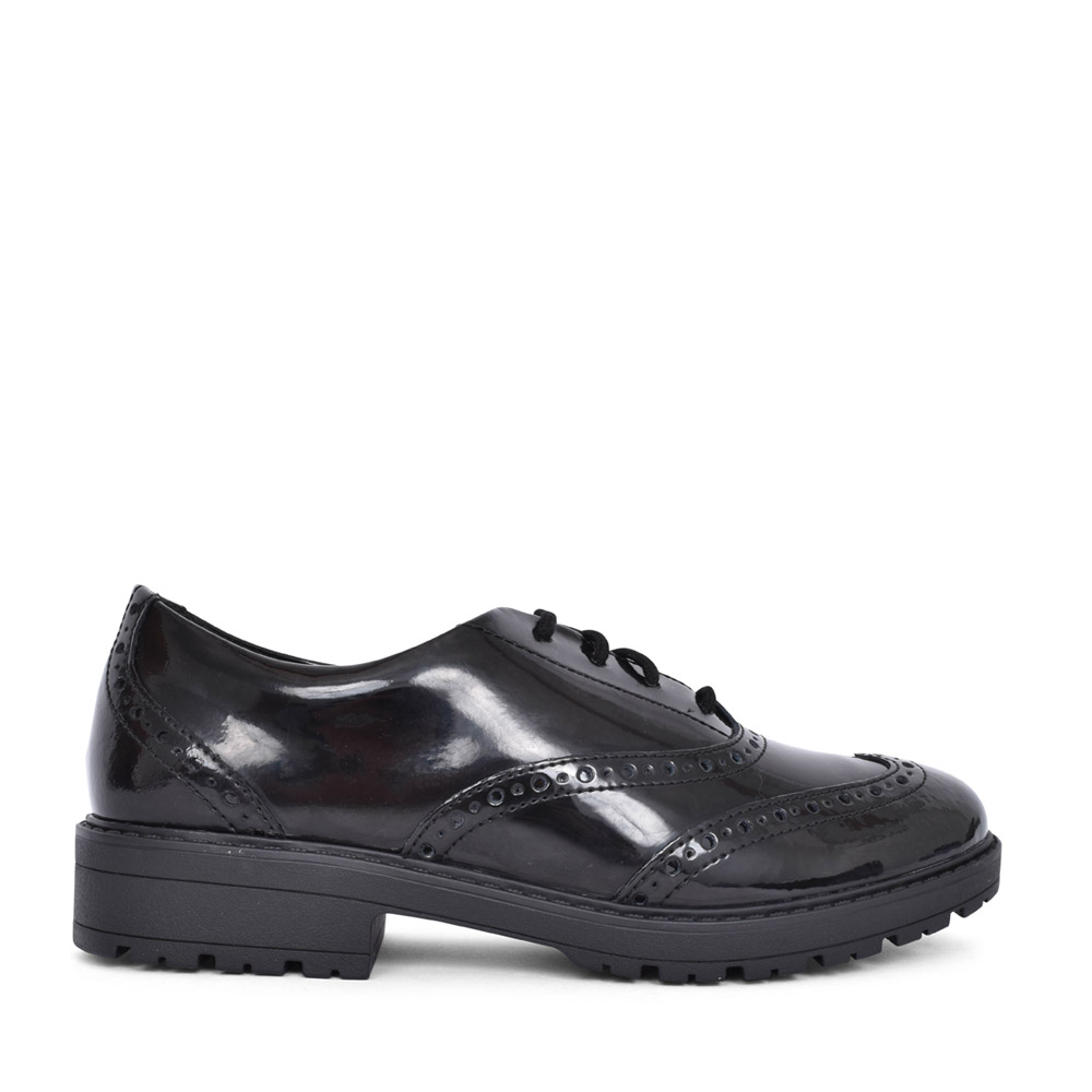 GIRLS LOXHAMBROGUE BLACK PATENT LACED BROGUE SHOE in KIDS F FIT