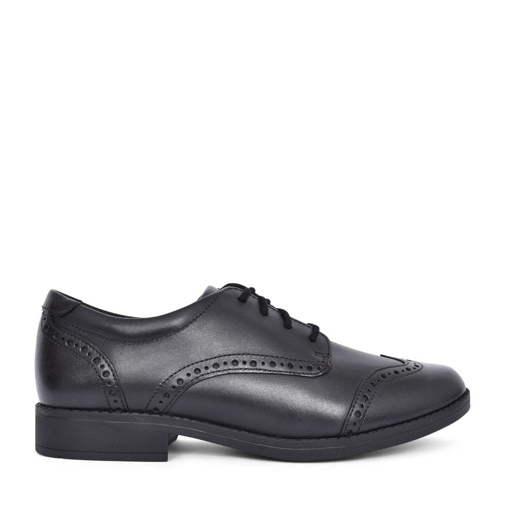 GIRLS AUBRIE CRAFT BLACK LEATHER LACED BROGUE SHOE  in KIDS E FIT