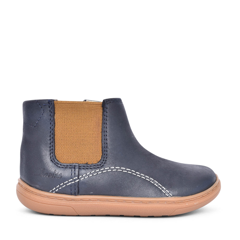 BOYS FLASH SEA NAVY LEATHER ANKLE BOOT in KIDS F FIT