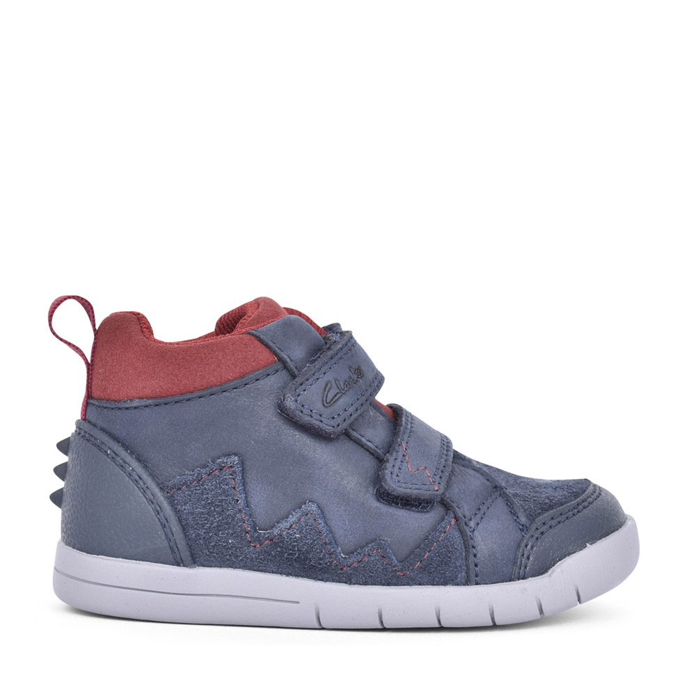 BOYS REX PARK NAVY LEATHER VELCRO BOOT in KIDS H FIT