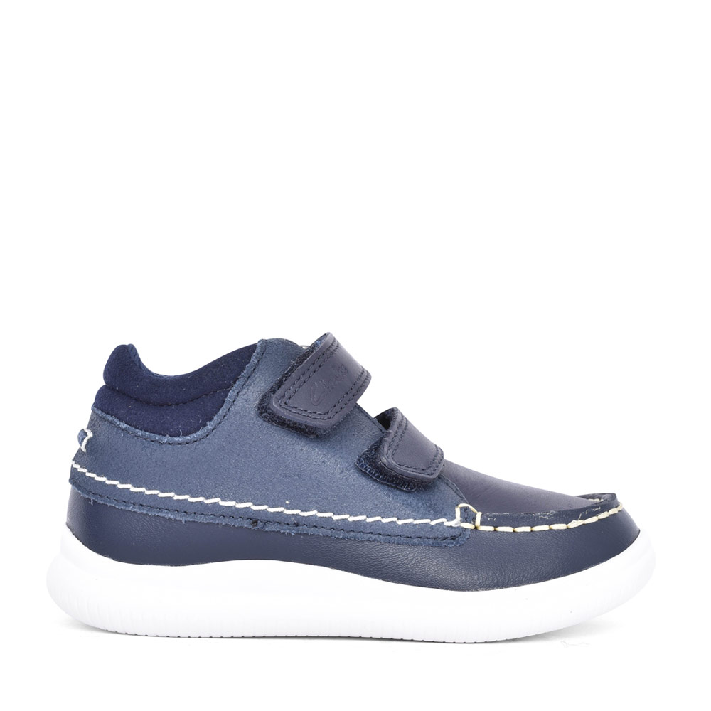 BOYS CREST TUKTU NAVY LEATHER SHOE in KIDS F FIT