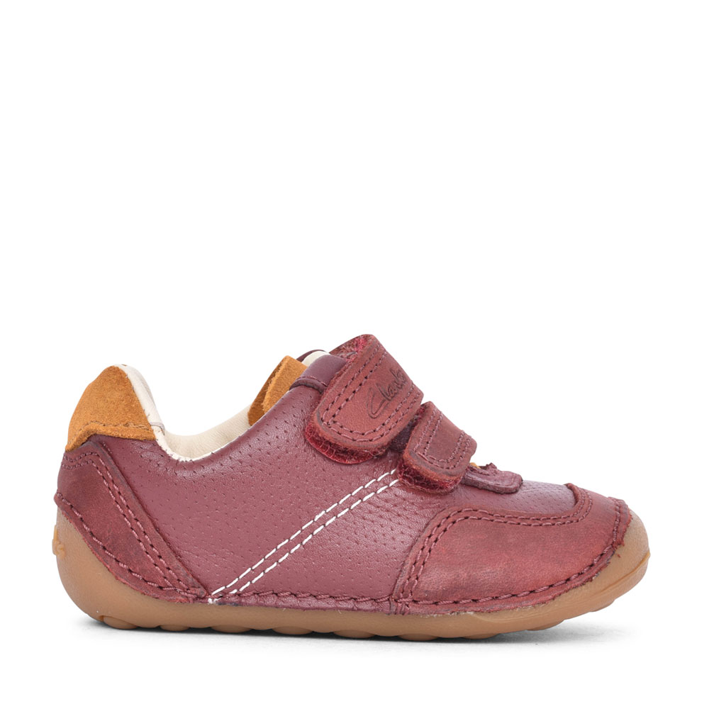 BOYS TINY DUSK MERLOT LEATHER VELCRO SHOE in KIDS F FIT
