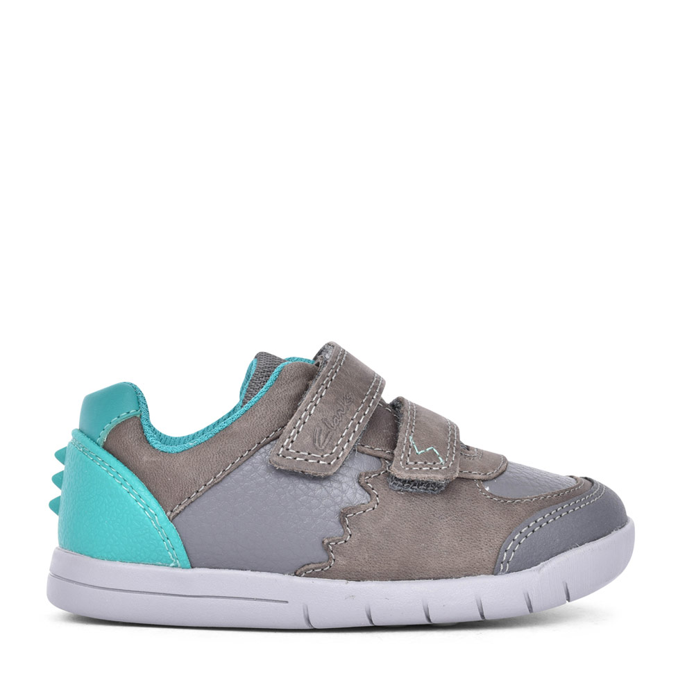 BOYS REX QUEST DARK GREY LEATHER VELCRO SHOE in KIDS F FIT