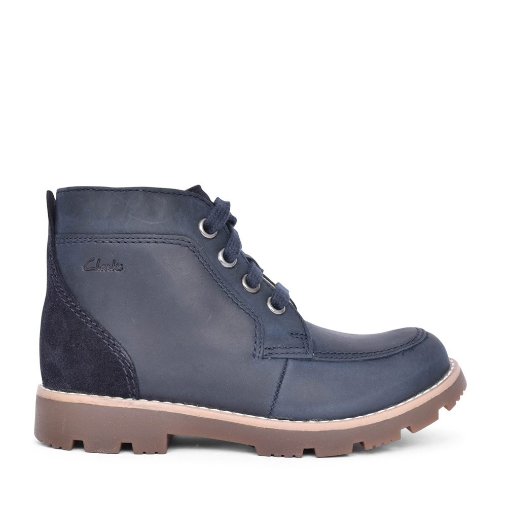 BOYS HEATH LACE NAVY LEATHER LACED ANKLE BOOT in KIDS G FIT
