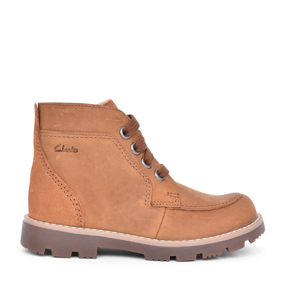 BOYS HEATH LACE TAN LEATHER LACED ANKLE BOOT in KIDS G FIT